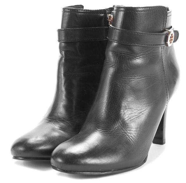 TORY BURCH Black Leather Zip Up Bootie Heels