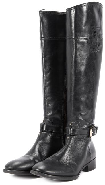 TORY BURCH Black Leather Side Zip Tall Knee-High Riding Boots