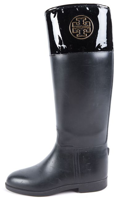 TORY BURCH Black Leather Rainboots
