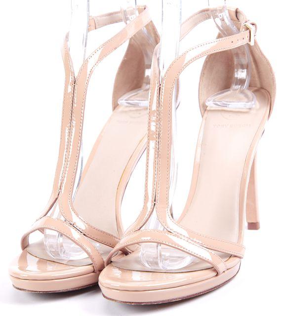 TORY BURCH Beige Patent Leather Sandal Heels