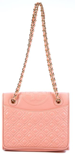 TORY BURCH Blush Pink Quilted Gold Woven Chain Leather Shoulder Bag