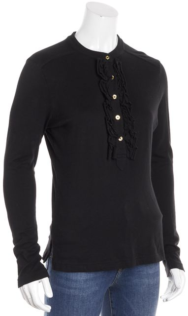 TORY BURCH Black Ruffle Front Long Sleeve Top