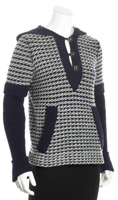 TORY BURCH Blue Striped Wool Hooded Sweater