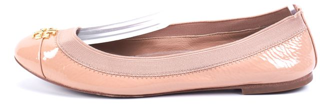TORY BURCH Nude Pink Gold Tone Logo Embellished Patent Leather Flats