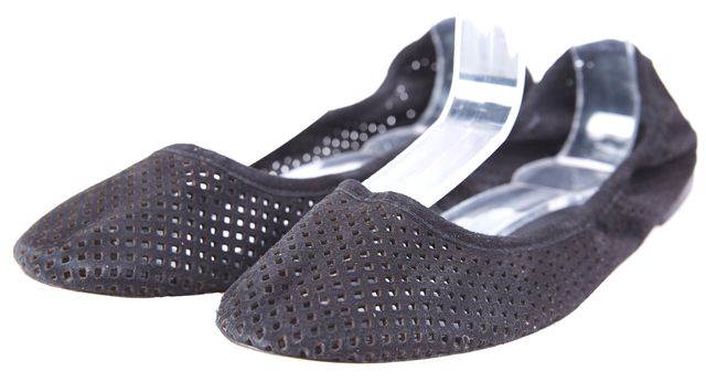 TORY BURCH Black perforated Suede leather ballet Flats