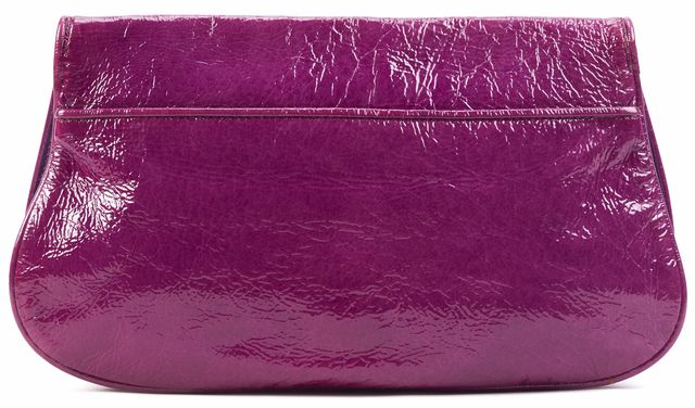 TORY BURCH Purple Gold Logo Front Patent Leather Clutch