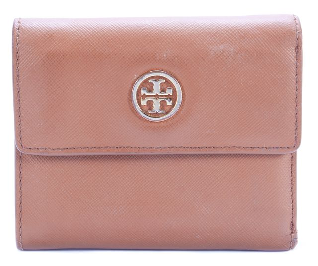 TORY BURCH Brown Leather Tri-Fold Wallet
