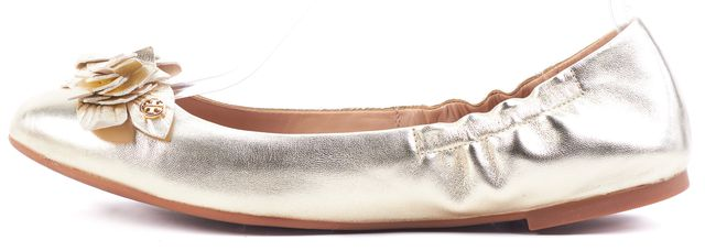 TORY BURCH Grained Metallic Gold Floral Leather Blossom Ballet Flats