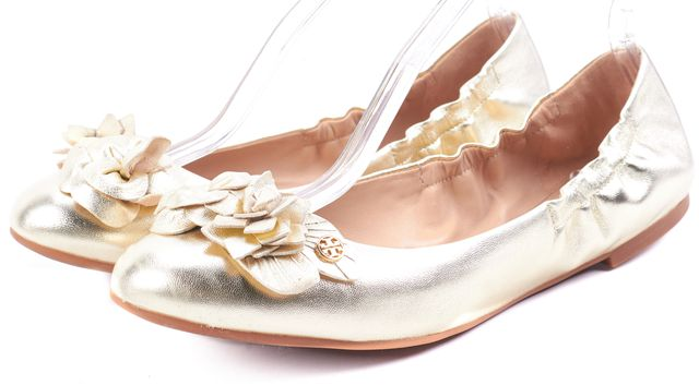 TORY BURCH Grained Metallic Gold Floral Leather Blossom Ballet Flats ...