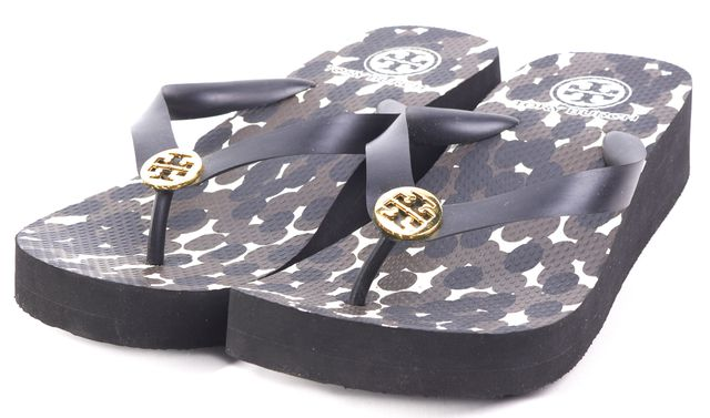 TORY BURCH Black/ Brown Abstract T-Strap Platform Sandals