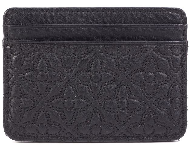 TORY BURCH Black Leather Bryant Quilted Slim Card Case