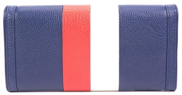 TORY BURCH Blue Leather Duet Stripe Envelope Continental Wallet