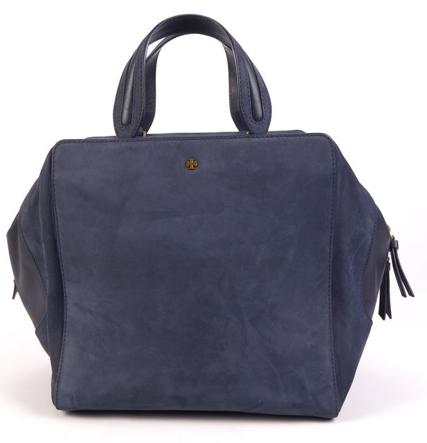 TORY BURCH Blue Suede Leather Top Handle Tote