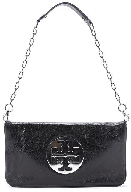 TORY BURCH Black Silver Tone Logo Leather Convertible Shoulder Bag Clutch