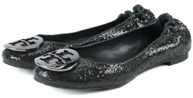TORY BURCH Black Sequin Leather Ballet Flats
