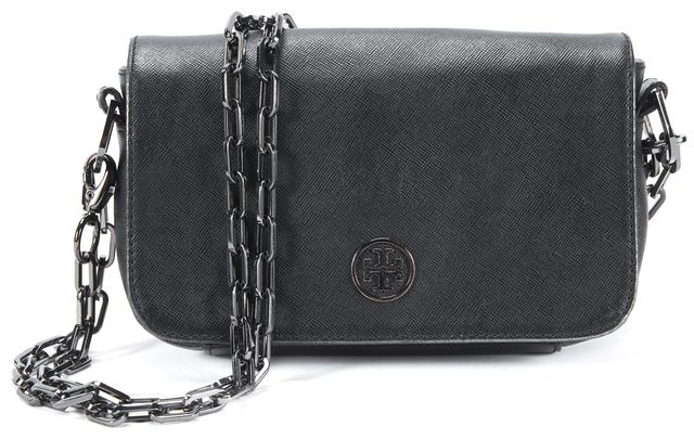 TORY BURCH Black Gun Metal Tone Chain Strap Shoulder Bag