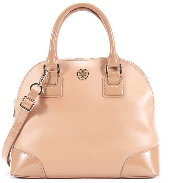 TORY BURCH Beige Leather Patent Leather Combo Robinson Dome Satchel Bag