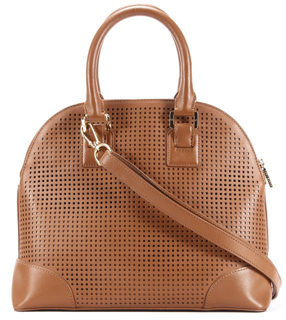 TORY BURCH Brown Leather Perforated Robinson Dome Satchel Bag