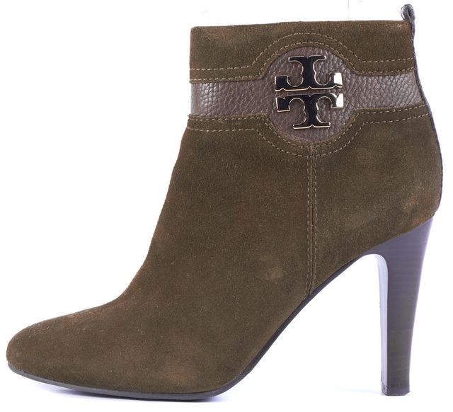 TORY BURCH Green Suede Monogram Logo Ankle Boots