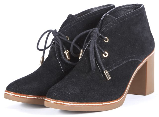 TORY BURCH Black Suede Hilary Ankle Boots