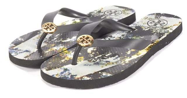 TORY BURCH Black Abstract Flip Flop Beach Sandals