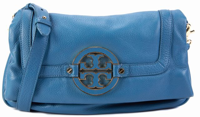 TORY BURCH Shadow Blue Leather Amanda Fold-Over Messenger