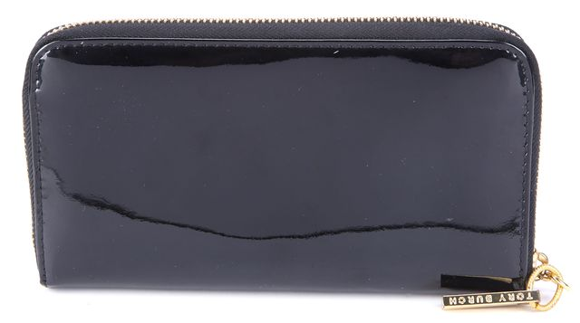 TORY BURCH Black Patent Leather Continental Wallet