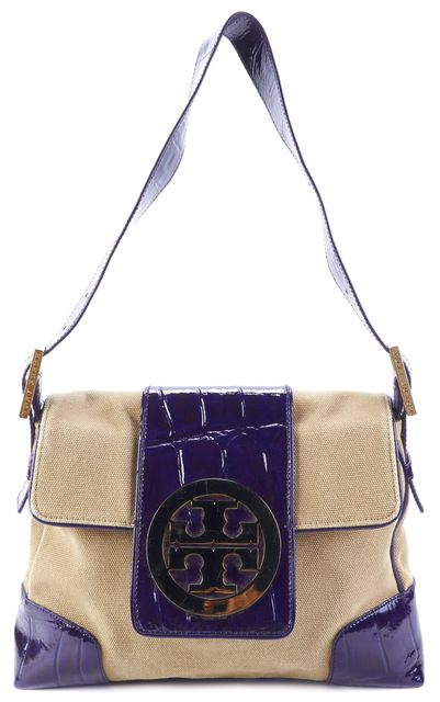 TORY BURCH Purple Beige Canvas Shoulder Bag