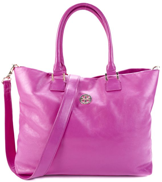 TORY BURCH Hot Pink Gold Logo Embellished Convertible Leather Crossbody Tote