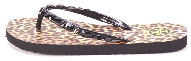 TORY BURCH Brown Black Leopard Animal Print Summer Flip Flop Sandals