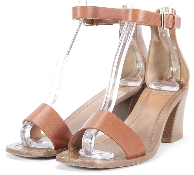 TORY BURCH Tan Brown Leather Strappy Heel Sandals