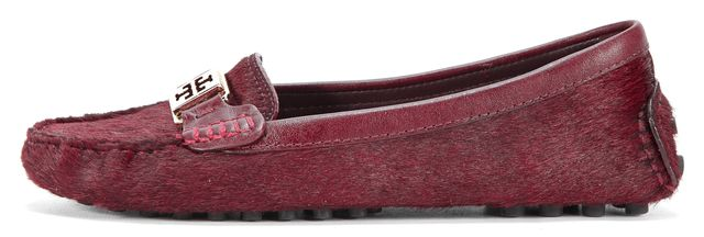 b308542bc85fe TORY BURCH Burgundy Ponyhair Red Slip-on Loafers Size 7