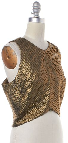 TORN BY RONNY KOBO NWOT Gold Metallic Sleeveless Anna Blouse Top Size M