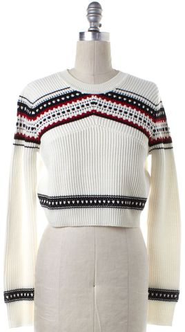 TORN BY RONNY KOBO Ivory Red Black Wool Knit Crewneck Crop Sweater