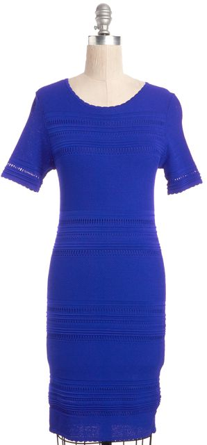 TORN BY RONNY KOBO Blue Perforated Bodycon Knee Length Dress
