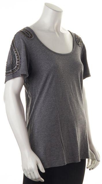TORN BY RONNY KOBO Gray Shoulder Embellished Top