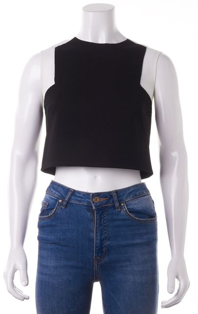 TORN BY RONNY KOBO Black White Colorblock Mesh Cropped Top