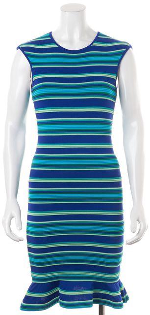 TORN BY RONNY KOBO Blue Green Textured Striped Ruffle Hem Bodycon Dress