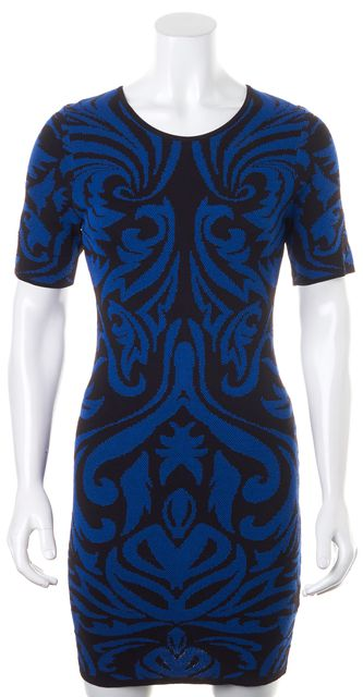 TORN BY RONNY KOBO Cobalt Blue Black Baroque Pointelle Candy Bodycon Dress