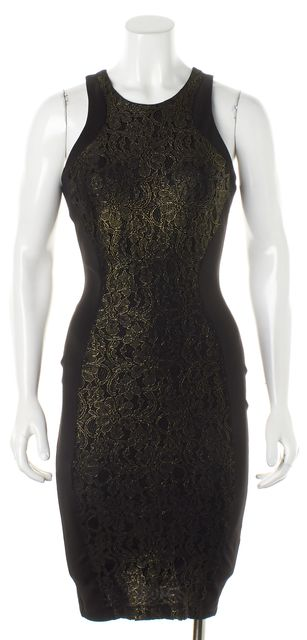 TORN BY RONNY KOBO Brown Gold Floral Lace Sleeveless Bodycon Dress