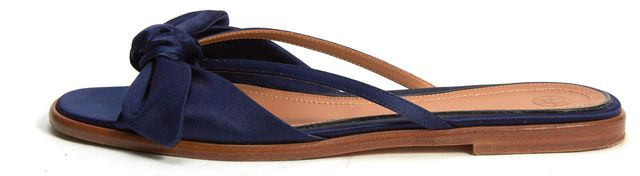 THE ROW Navy Blue Knotted Satin April Slipper Sandals