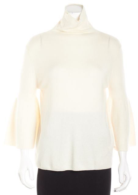THE ROW Ivory Cashmere Silk Knit Bell Sleeves Turtleneck Sweater