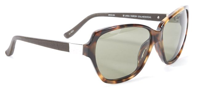 THE ROW Brown Tortoise Green Lens Rectangular Sunglasses