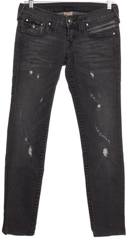 TRUE RELIGION Gray Distressed Embellished Slim Fit Jeans