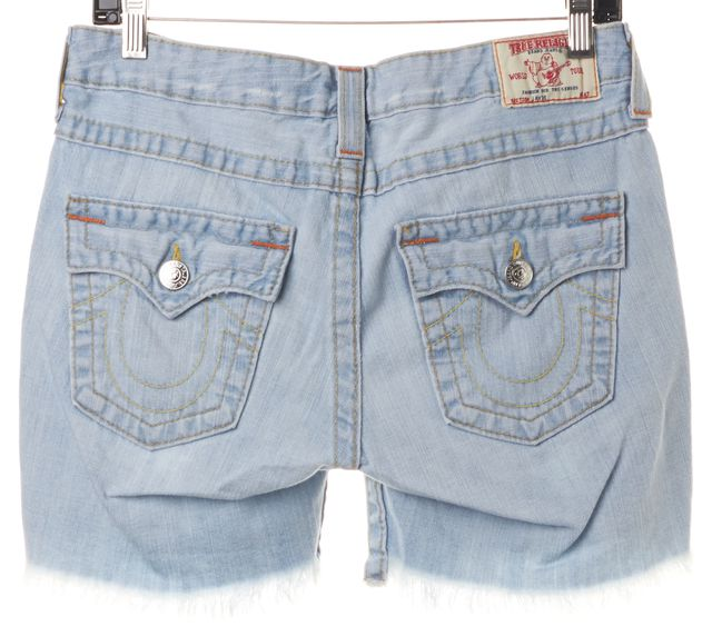 TRUE RELIGION Blue Distressed Light Wash Denim Shorts
