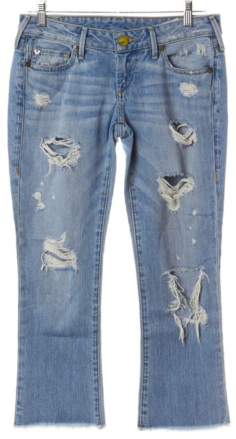 TRUE RELIGION Blue Distressed Low Rise Bell Botton Straight Leg Jeans