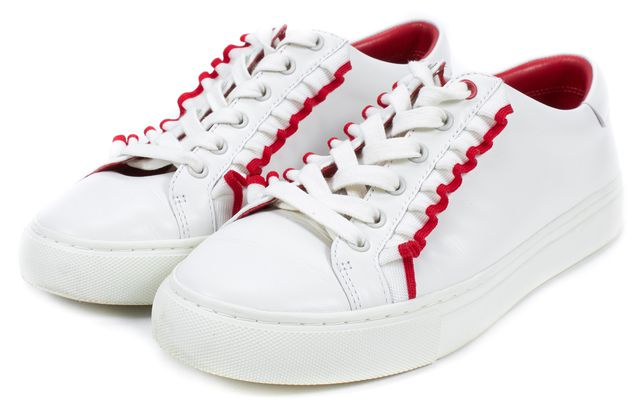 TORY SPORT Snow White Nantucket Red Ruffle Leather Sneakers