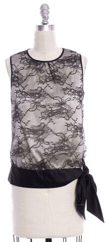 TRINA TURK Black Lace Cordella Sleeveless Blouse Size P