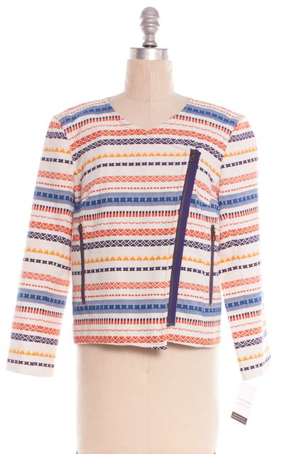 TRINA TURK Orange Striped Zip Up Jacket