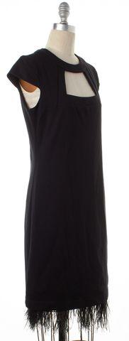 TRINA TURK Black Jersey Feather Trim Cutout Cap Sleeve Shift Dress